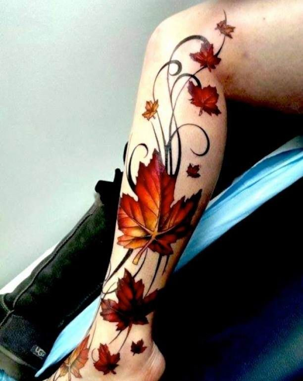 Lower Leg Tattoo Tribal Leaves