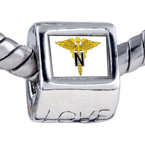 Pugster Medical Nurse Caduceus Love Charm Bead Fits Pandora Bracelet Pugster. $12.49. It's the photo on the love charm. Unthreaded European story bracelet design. Fit Pandora, Biagi, and Chamilia Charm Bead Bracelets. Bracelet sold separately. Hole size is approximately 4.8 to 5mm