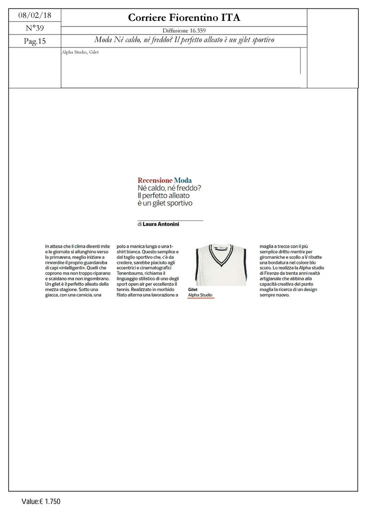 Alpha Studio vneck without sleeves, as seen on the pages of Corriere Fiorentino, 8 February 2018  #AlphaStudio #SS18 #spring #summer #gilet #sweater #withoutsleeves #cotton #tennis #fashion #style #corrierefiorentino #magazine #edit #editorial