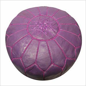 Purple leather moroccan pouf   PregnancyAndBaby.com