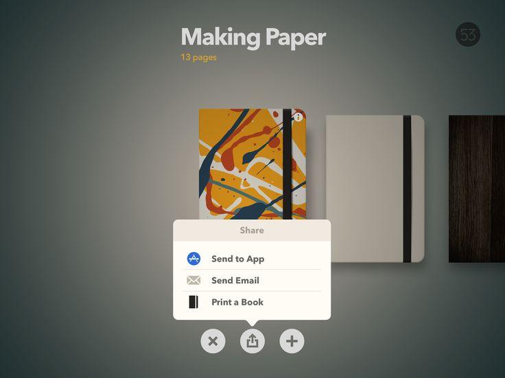 Paper, share, options, iPad