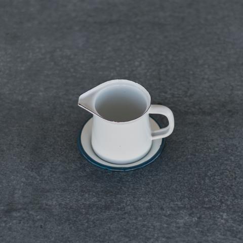 Romanian enamel jug, 125ml, and saucer