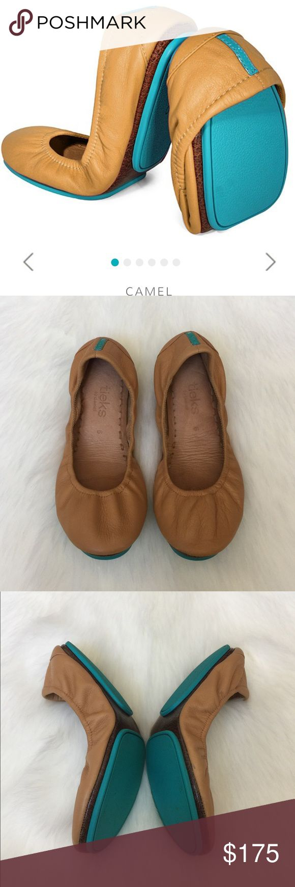 Tieks by Gavrieli Classic Camel ballet flats 100% premium, soft, full-grain leather Non-elasticized, cushioned back Non-skid rubber soles and cushioned instep.Excellent used condition.Please see pictures for details and flaws.✅Shoe pouch included and no box.✅Reasonable Offer.🚫No Trades.Also on another app Tieks Shoes Flats & Loafers