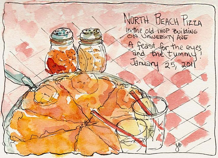 watercolor pen and wash portraits | North Beach Pizza, ink & watercolor