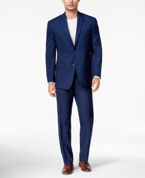Marc New York by Andrew Marc Men's Classic-Fit Blue Tonal Plaid Suit - Blue 46L
