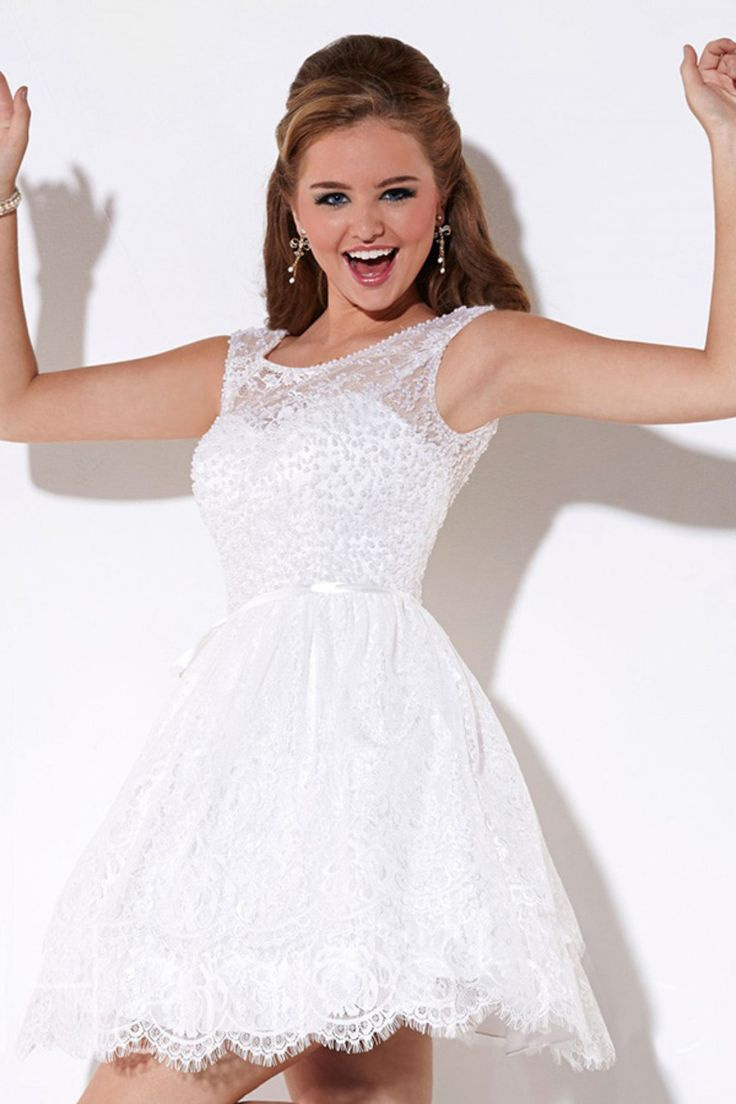 2015 Bateau Homecoming Dress A Line Short/Mini Tulle White Beaded