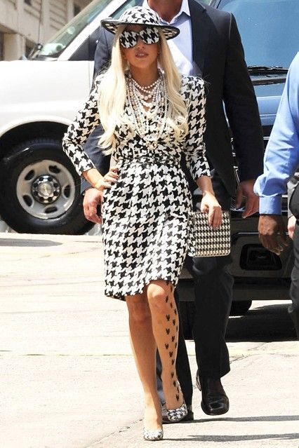 Lady Gaga wore head-to-toe houndstooth by Salvatore Ferragamo for an appearance on The View in New York.