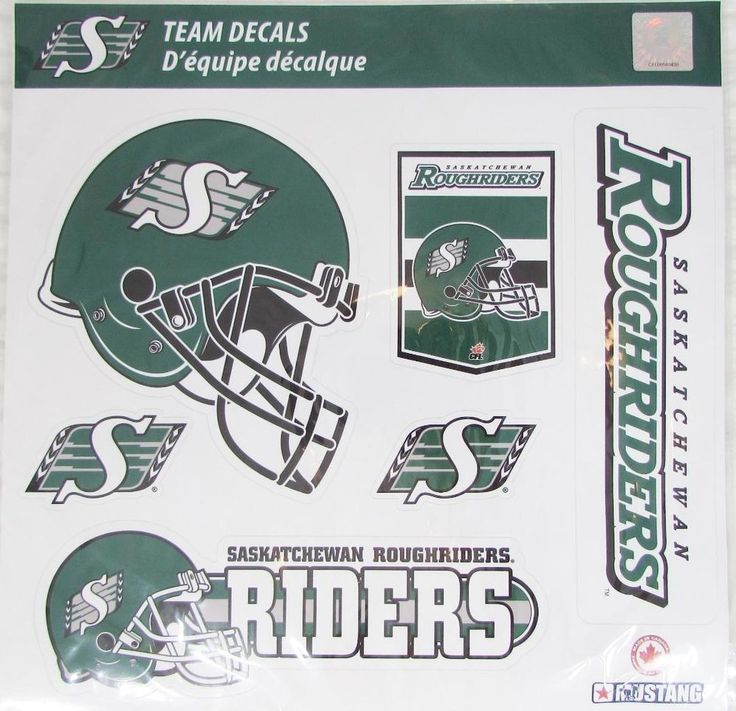 CFL Saskatchewan Roughriders Football Decal Stickers 6pc set NEW SEALED
