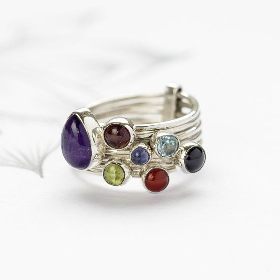 Semi-Precious Stone Stacking Ring, Multi Colour Gemstone Stack Ring, Sterling Silver Stacking Rings, Stackable RIngs