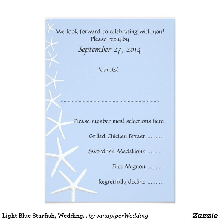Light Blue Starfish, Wedding Menu Reply Cards