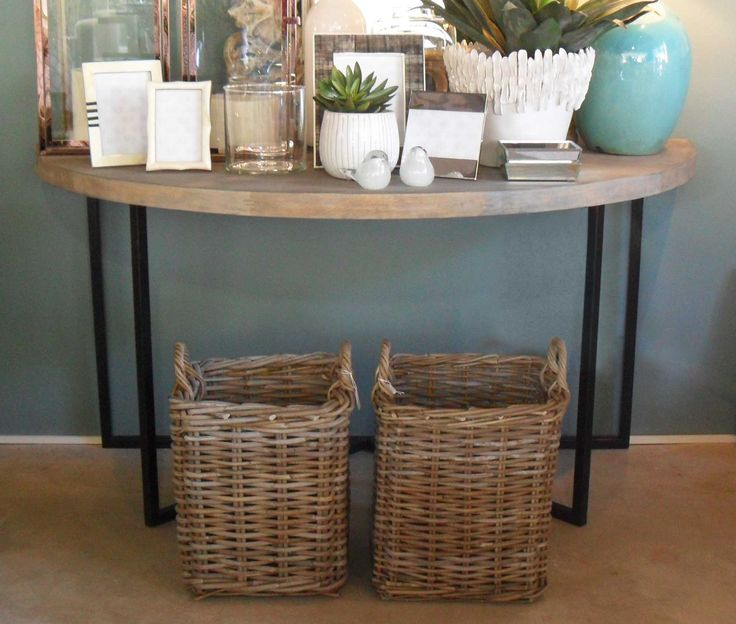 Oak and Powder Coated Aluminium Half Moon Console Table - Inside Out Home Boutique