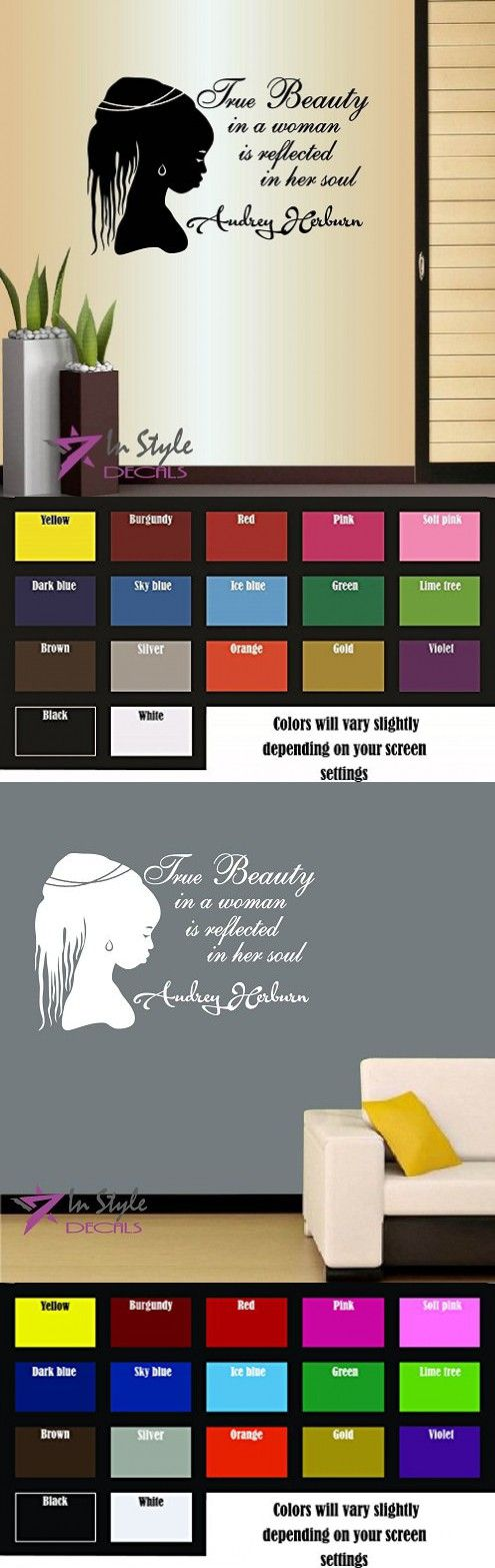 Wall Vinyl Decal Home Decor Art Sticker Silhouette True Beauty in a Woman Is Reflected in Her Soul Audrey Hernbur Quote Phrase Beautiful African Woman Style Fashion Beauty Hair Salon Shop Room Removable Stylish Mural Unique Design For Any Room Creative De
