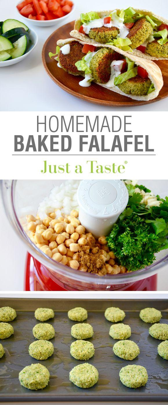 Crispy Homemade Baked Falafel recipe via justataste.com
