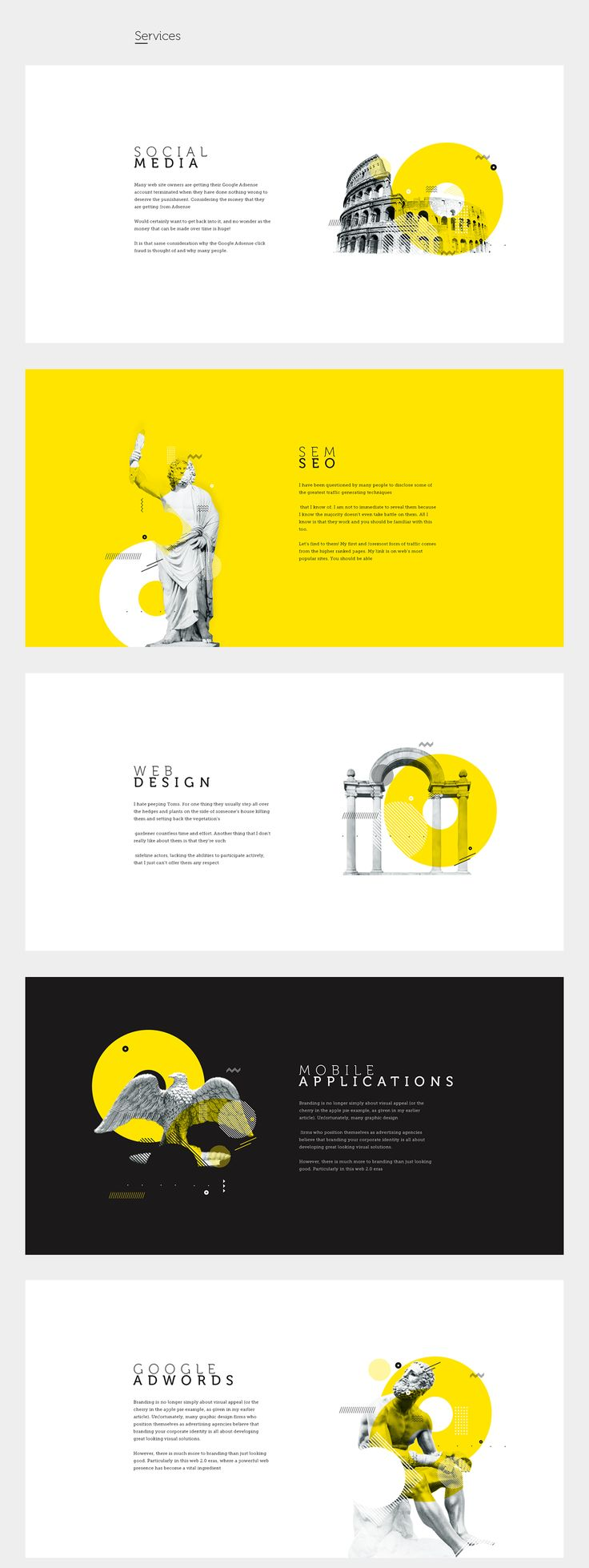 Way to present work on a portfolio page – Hero Image on one side, description on the other – black and white+splotchof colour