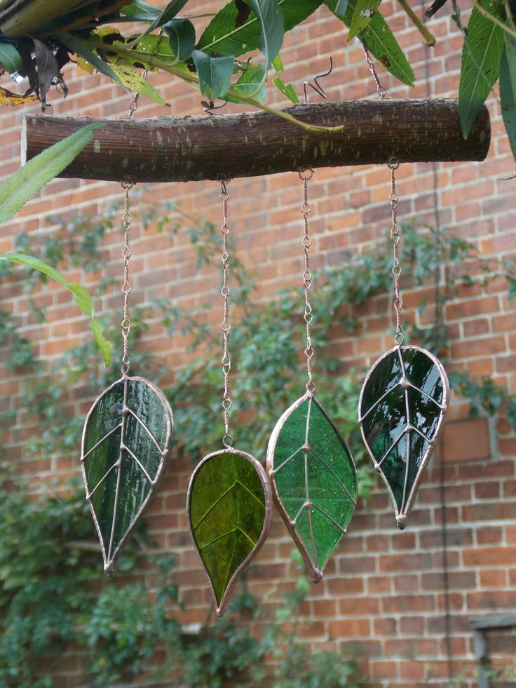 "Sun Catcher Glass Leaves 'Fall Leaves' Hanging Wind Chime/Mobile Window Glass Art. Real Hazel Wood. Christmas Gift 13""x 7"" by WylloWytch on Etsy"