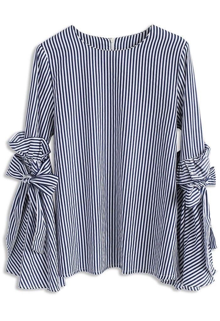 Stripes Charisma Top with Bell Sleeves - New Arrivals - Retro, Indie and Unique Fashion