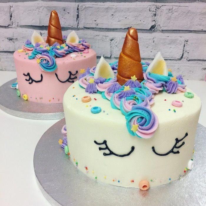 weißer und rosa Fondant, Cupcake-Kuchen aus Einhorn, rosa blaue und lila …   – unicorn cake ideas