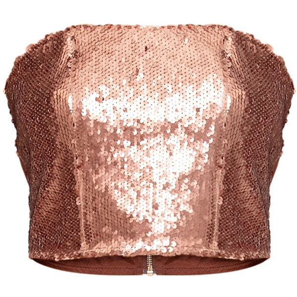 Patrice Rose Gold Sequin Bandeau Top ❤ liked on Polyvore featuring tops, bandeau tops, bandeau bikini tops, sequined tops, rose gold top and sequin bandeau top