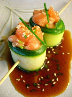 salmon tartar with cucumber