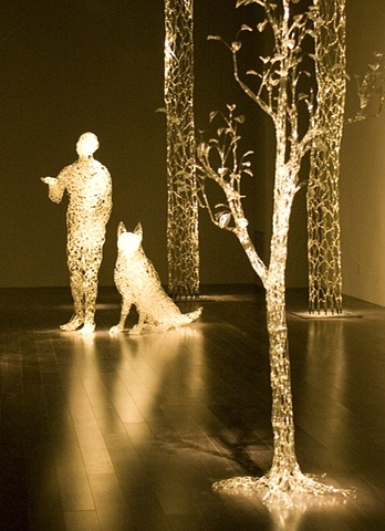 Lit from within... Glass installation by  David Willis.