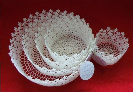 Beyaz Dantel Örgü Sepet Modelleri