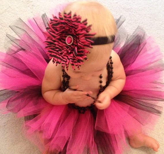 Hot Pink and Black Zebra Tutu Set  Pink and by MissMadelynsBows, $26.00