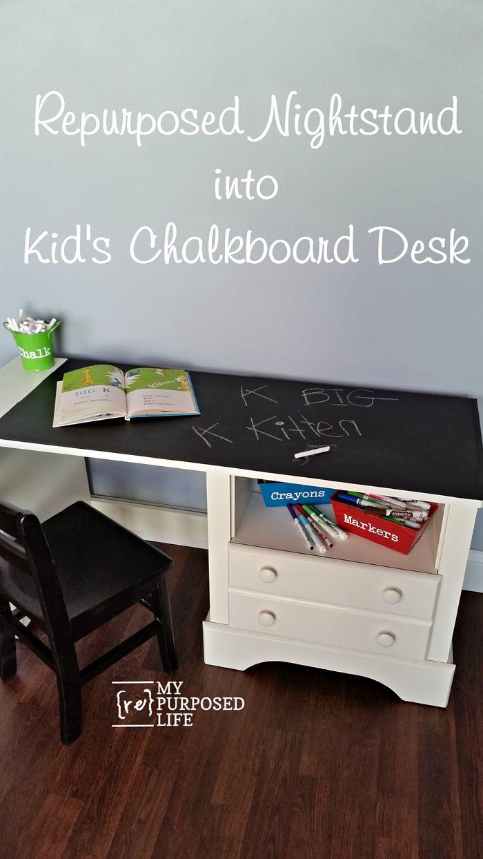 Turn an unwanted nightstand into a kids chalkboard desk MyRepurposedLife.com