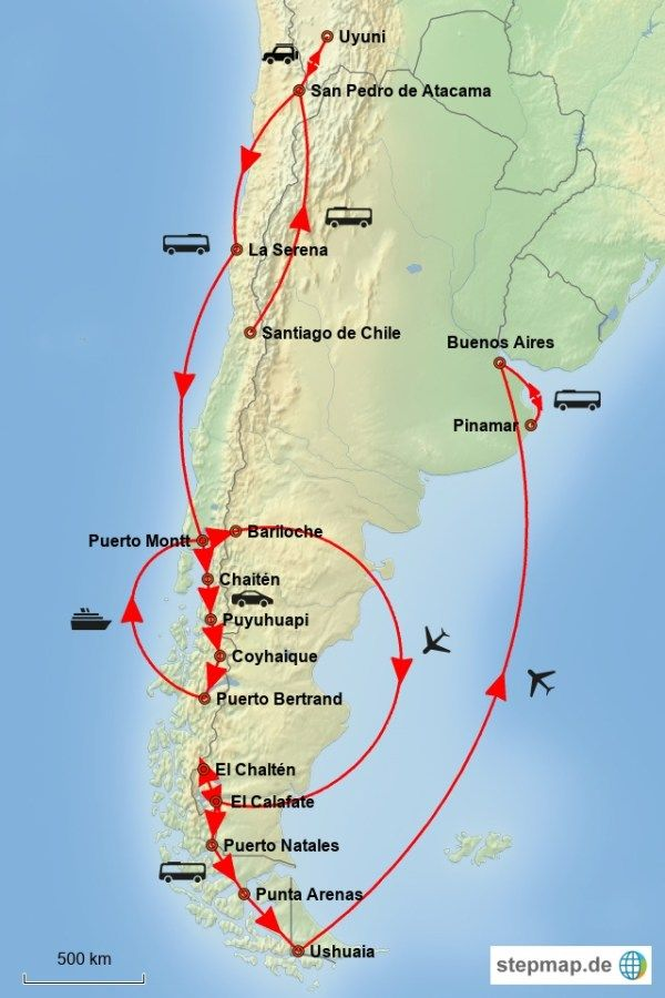 Patagonien Highlights Karte.Reiseroute Durch Chile Und Argentinien In 2019 Chile