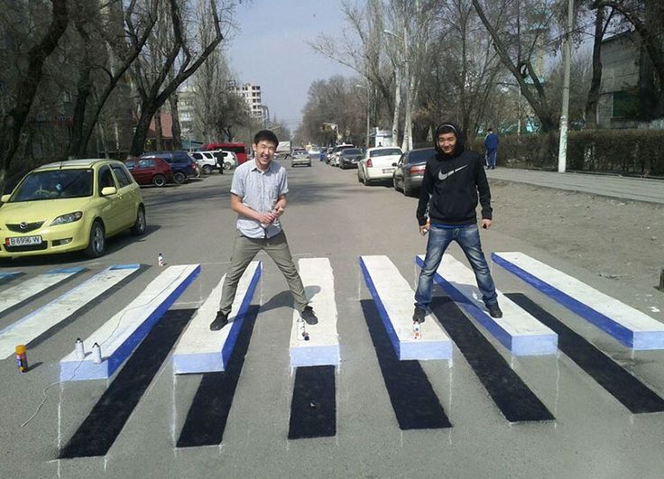 3D Paintings In The Streets Of India Are Painted To Slow Down Dangerous Drivers