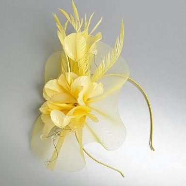 Yellow hidden gem & feather fascinator - Fascinators - Hats & fascinators - Women -