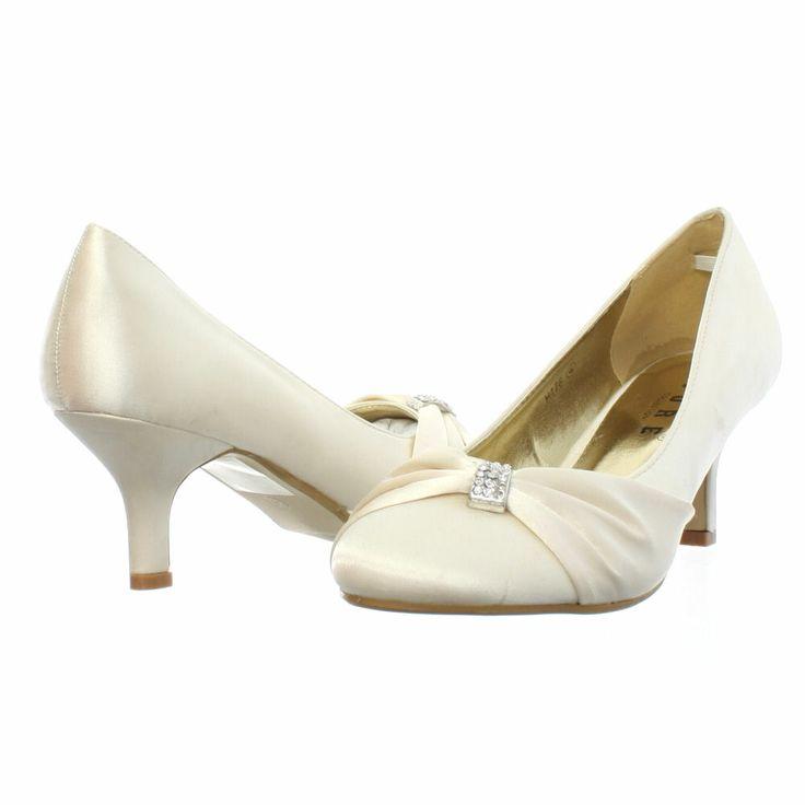 Womens Low Kitten Heel Bridal Wedding Ivory Satin Diamante Court Shoes Size 3 8