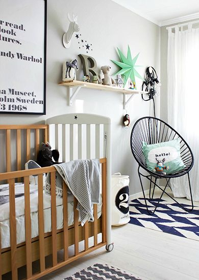 9 Tips for Designing a Nursery// modern nursery: Baby Blue, Chairs, Color, Boys Bedrooms, Baby Boys Rooms, Modern Nurseries, Baby Rooms, Black White Kidsroom, Kids Rooms