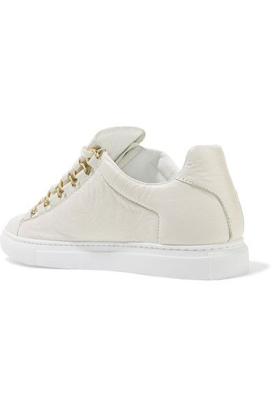 Balenciaga - Arena Crinkled-leather Sneakers - White - IT35