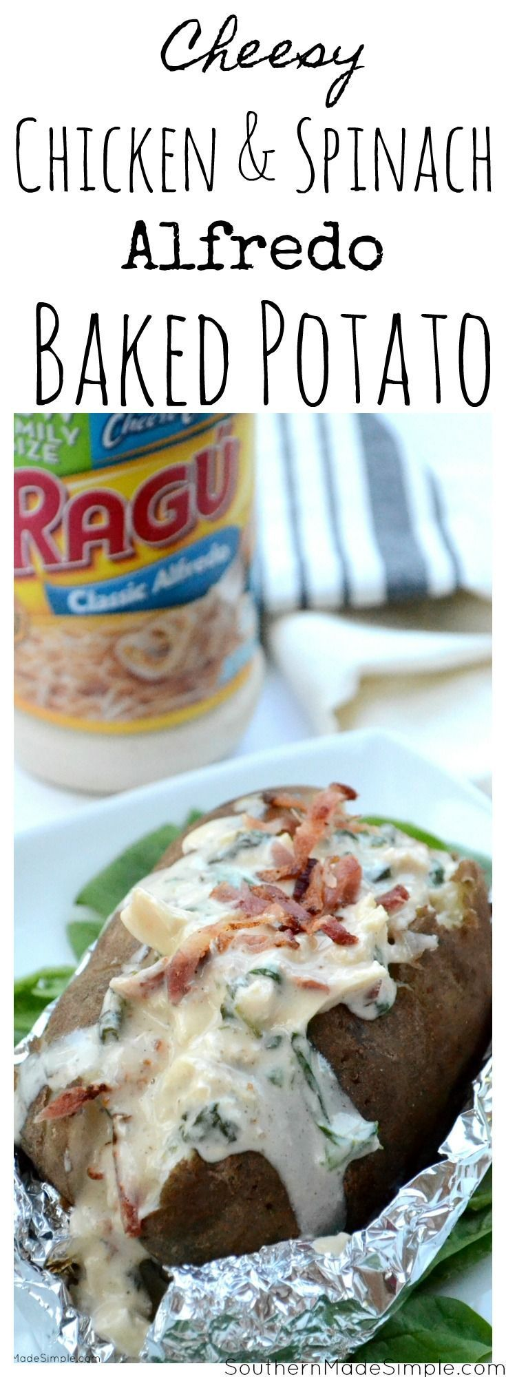 There's nothing better than a baked potato loaded with delicious cheesy goodness, and these Cheesy Chicken & Spinach Alfredo Baked Potatoes are overflowing with the the creamiest Alfredo sauce made by Ragu that will make you want to go back for seconds! #ad