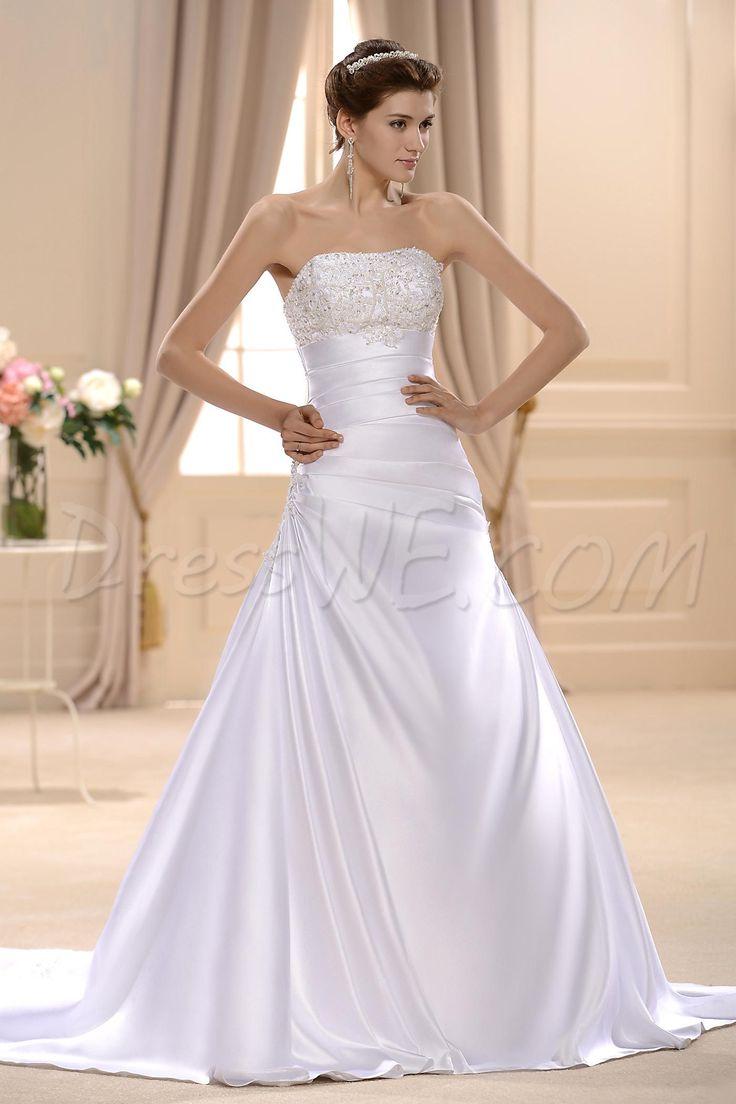 グラマラスなチャペルのAラインウェディングドレス プリンセス ストラップレス 10536510 - プラスサイズウェディングドレス - Dresswe.Com