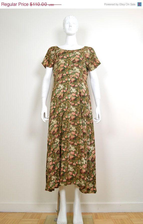 On SALE Long Grunge Dress: Vintage 90s dress long by MyrtleBedford