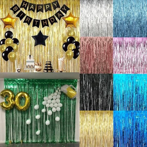 3m Rose Gold Self Adhesive Foil Fringe Tinsel Shimmer Curtain Etsy Happy Birthday Parties Happy Birthday Party Decorations Birthday Wall