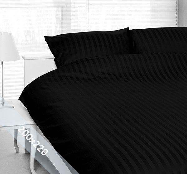 Satin d'Or 'streep' tweepersoons (200x220 cm) dekbedovertrek zwart. Wentel je in het stijlvolle en luxe van een hotelsuite met dit dekbedovertrek van katoen satijn. Door verschillende weeftechnieken ontstaan de verschillende banen mat en glans.