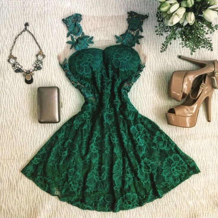 Vestido Casual Curto Renda cores Verde e Azul alishoppbrasil                                                                                                                                                                                 Mais