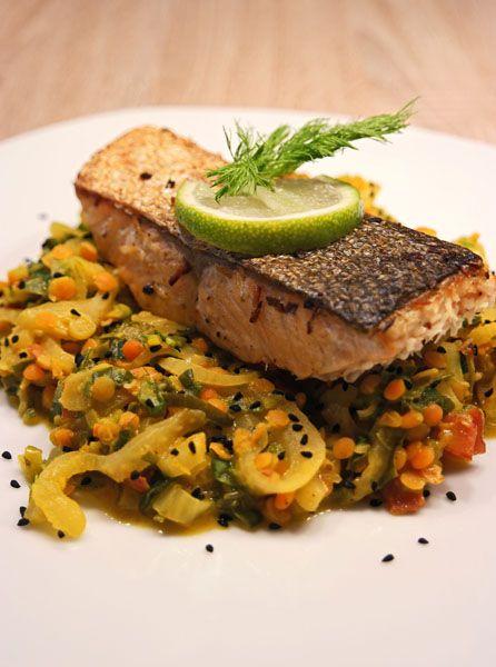 Lachsfilet mit Fenchel-Linsen Gemüse – inthemood4food