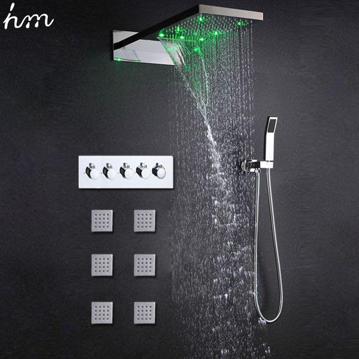 Luxury Shower Jets System Wall Mounted Temperature Sensor Led Rainfall Waterfall Shower Head Set High Flow Mixer/  Hand Shower