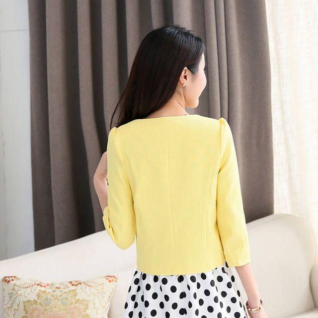 Envío libre 2015 nuevas llegadas summer moda de corea mujeres salvajes párrafo corto traje chaqueta de la capa