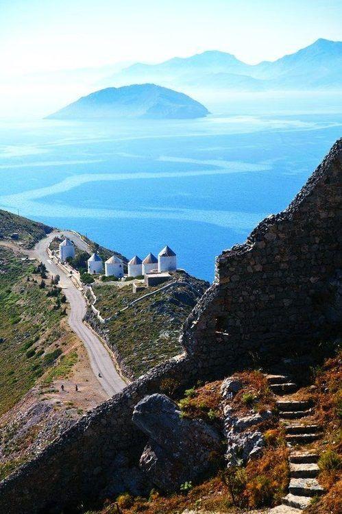 The windmills & the Sea Island of Leros, Greece