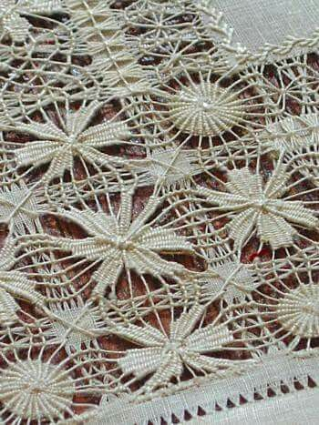 """This website worth a visit to see some wonderful antique Courtesy of Em's Heart  Antique Linen Drawn Work Lace Doilies Splendid pair of antique linen doilies were likely worked as drawn work lace """"samplers"""" to show off exceptional skill in this art form.  c.1900  9"""" square  http://www.emsheart.com/merchandise/items/D036110%20Antique%20drawn%20work%20lace%20linen%20doilies.htm"""