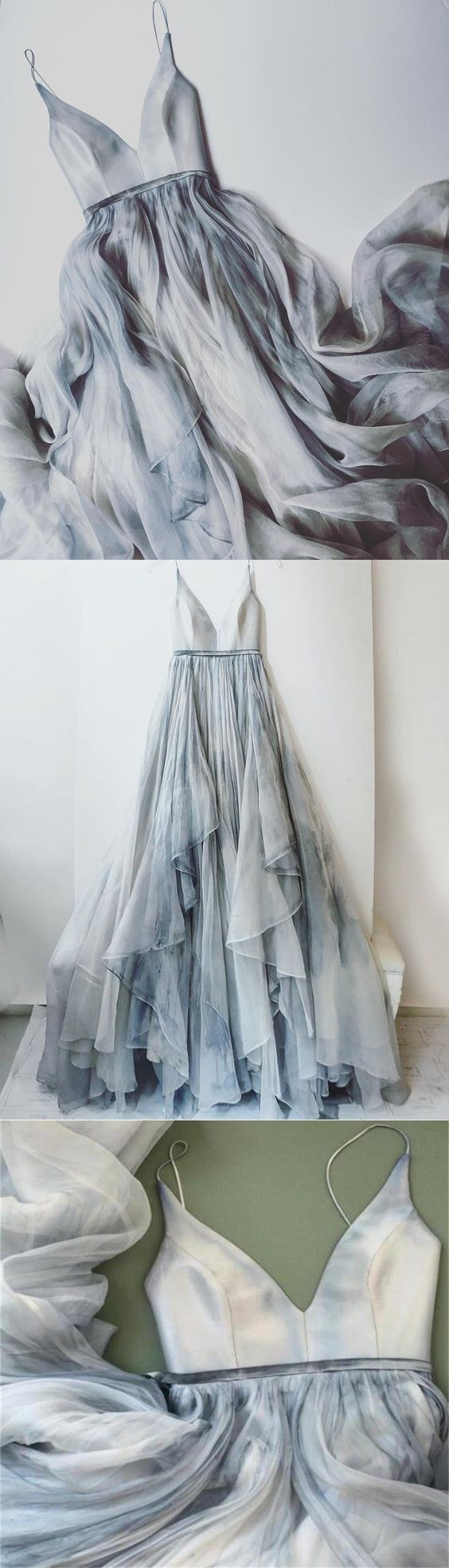 Long Spaghetti Straps Simple V Neck Tulle cheap Pretty Party Prom Dresses ,Bridal gowns ,PD0232