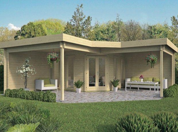 Jutka Gazebo Log Cabin 6 78 X 6 78m Double Glazed In 2020 Garden Cabins Modern Gazebo Gazebo