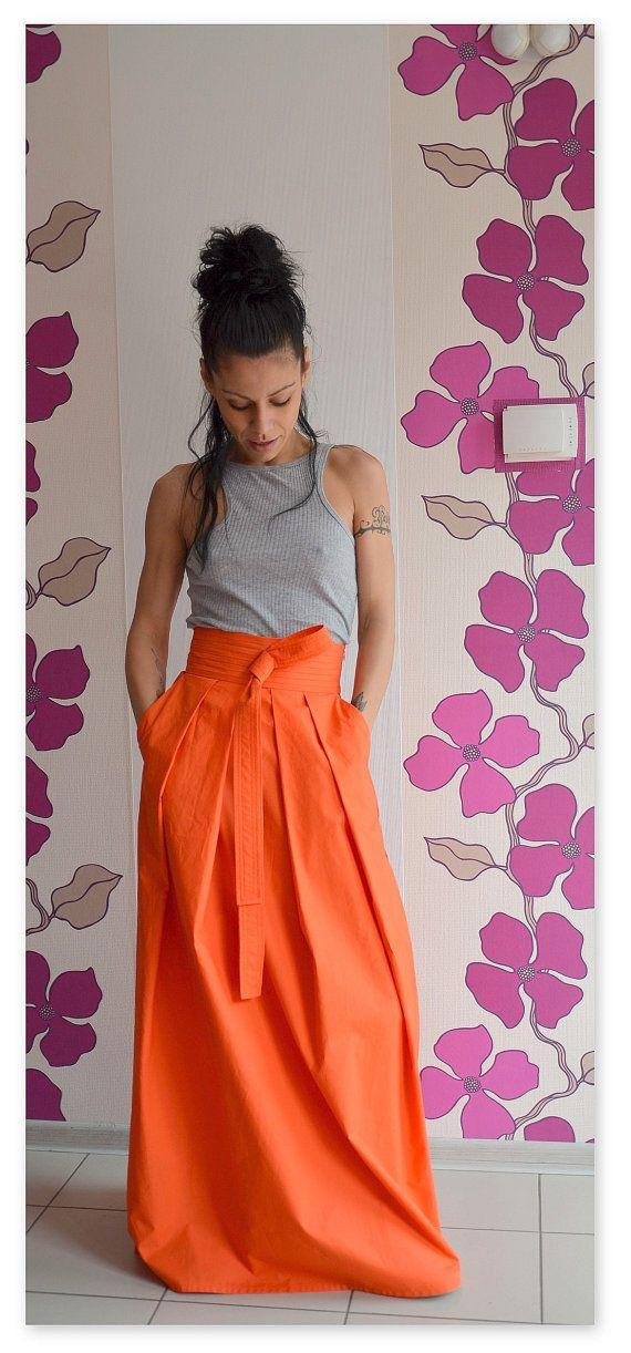 Orange maxi skirt / High waist skirt / by ClothesByLockerRoom