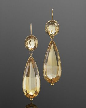 Victorian Citrine Pendant Earrings, English, circa 1880