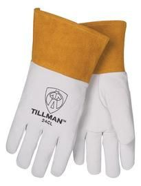 "Tillman™ Large Pearl Top Grain Kidskin Unlined Premium Grade TIG Welders Gloves With Straight Thumb, 2"" Cuff And Kevlar® Lock Stitching"