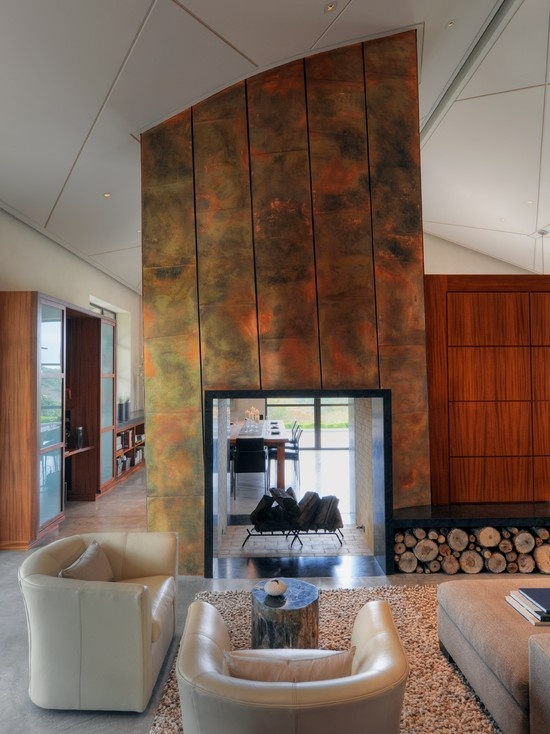 Copper Clad Central Fireplace For The Home Pinterest